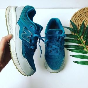 New Balance 530 Teal/Gray Suede Sneakers